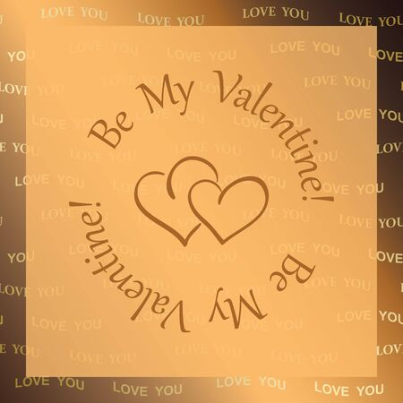 golden vector background with hearts be my valentine