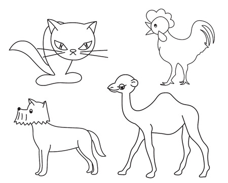 Set of line drawings of animals