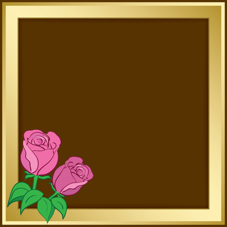 Gold vector frame with roses vector illustration