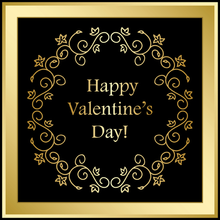Gold vector frame on black background, Happy Valentines day.