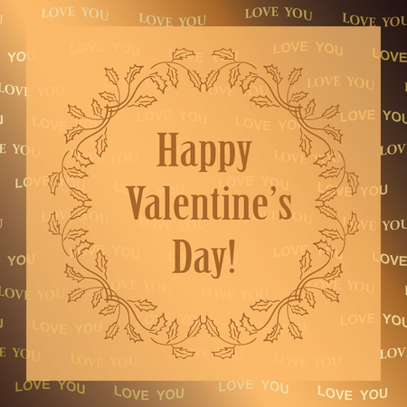 Gold ornamental vector background, Happy Valentines day.