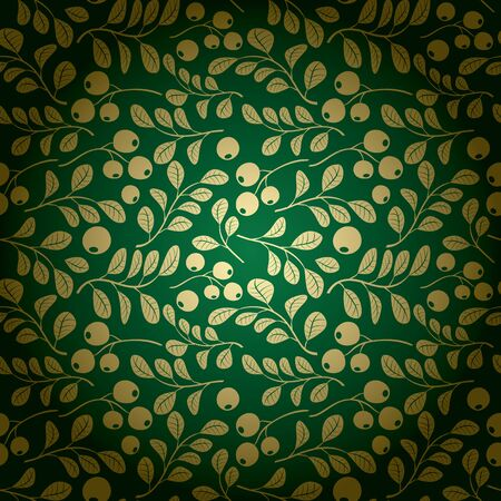 Gold and green vector background floral pattern. Illustration
