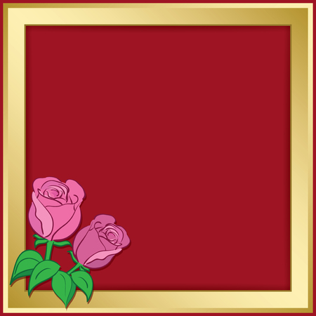 gold vector frame on red background with roses - illustration