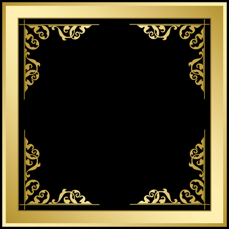 Quadratic frame with ornament - gold and black vector background