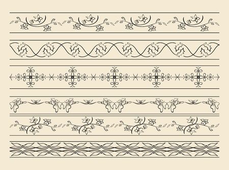 Black decorative ornaments - vector set illustration. Illustration