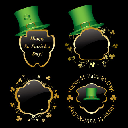 frames with green hats and trefoils for st Patrick day - vector set