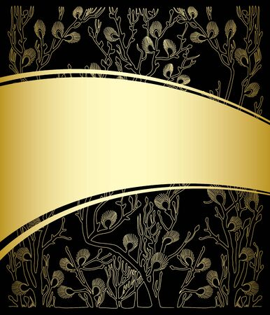 gold and black background with floral pattern - vector