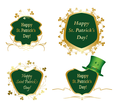 golden frames with clovers for st patrick day - vector set Illustration