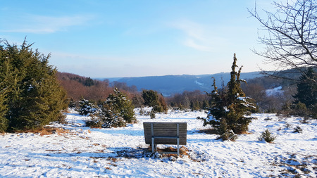 bench on hill for enjoying beautiful view of nature - Baden-Wurttemberg at winter