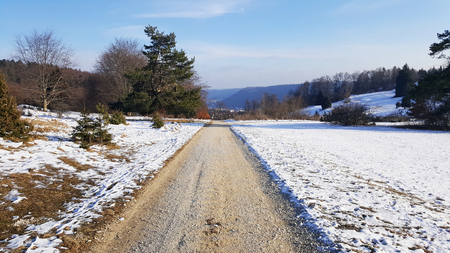 road on hill for hiking and watching nature - Baden-Wurttemberg at winter
