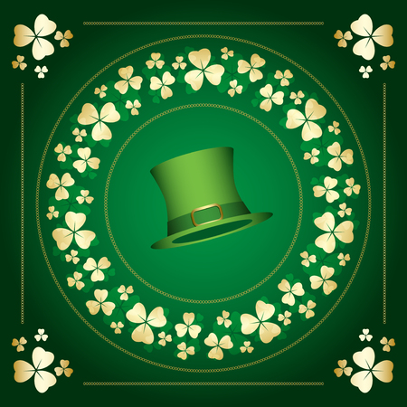 dark green vector background with clovers frame - saint patricks day