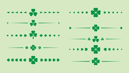 green clover dividers - vector set for saint patrick day