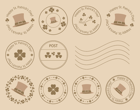 brown postal stamps with clovers and hat for saint patrick day - vector set