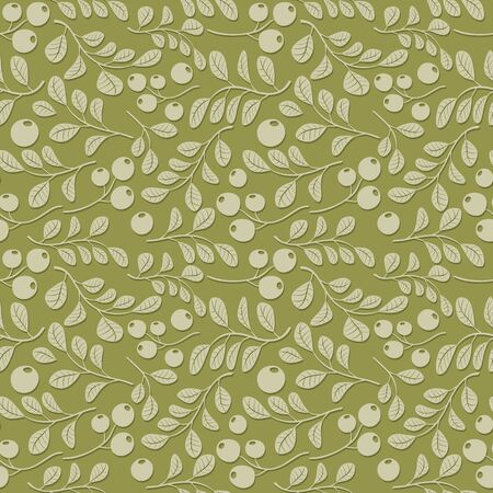 olive floral pattern with shadow - seamless vector
