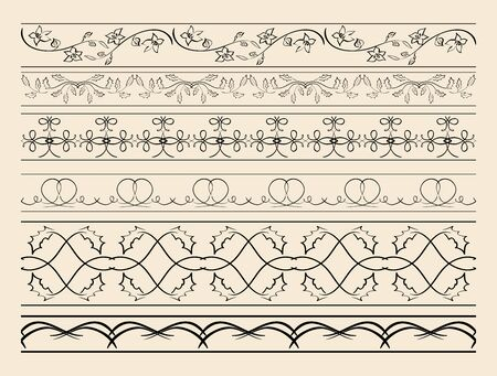 floral and curved ornamental borders - set of vector decorations Illustration