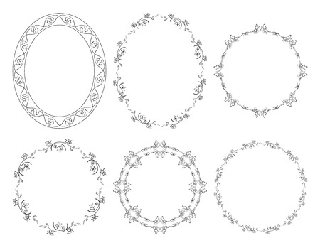 oval and round floral vector frames with flowers
