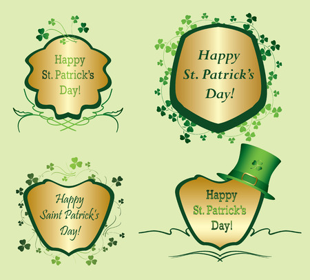 Green and golden frames with clovers for st Patrick day - vector set
