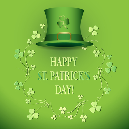 Bright green vector background with hat - saint patricks day Illustration