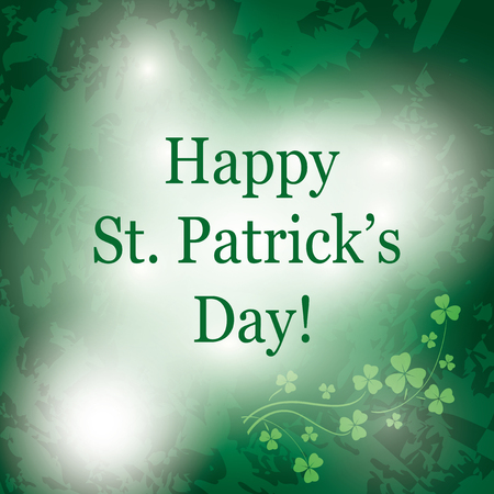 Green grunge vector background for saint Patrick day - greeting card Illustration
