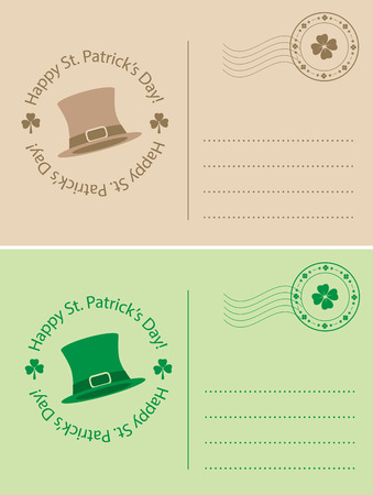 Light brown and green postcards for saint Patrick day - vector holiday backgrounds Stock Vector - 95208327