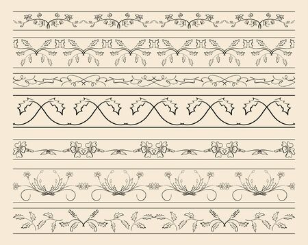 Floral ornamental borders - set of vector decorations Illustration
