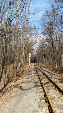 Kharkiv, Ukraine - railway with semaphores in forest park Stock Photo - 95456449