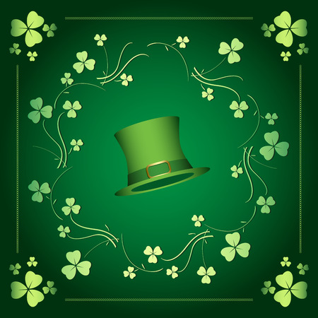 Dark green vector background with clover leaves for Saint Patrick's day Stock Vector - 95847157