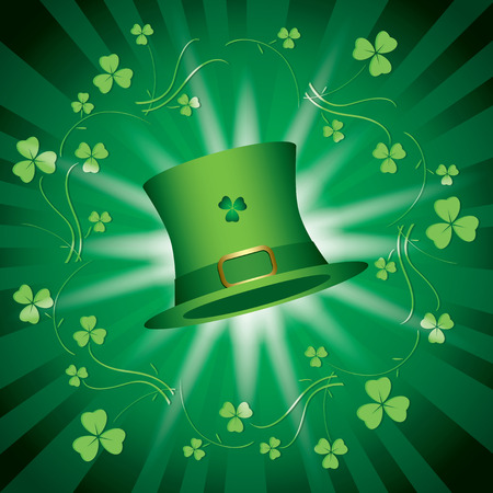 st patricks day - green vector shiny background with green hat and light beams Illustration