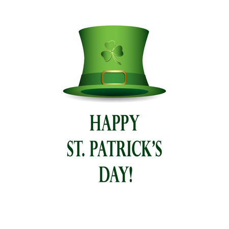 Happy st patricks day - vector white background with green hat Stock Vector - 95371926