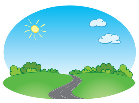 Vector green landscape with road and blue sky Illustration