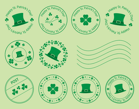 Green postage stamps with clovers and hat for saint patrick day - vector set