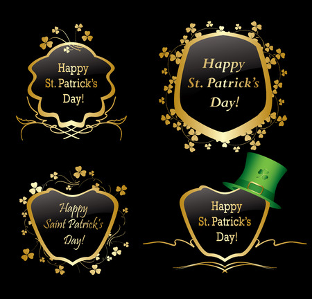 Golden frames with trefoils for st patrick day - vector set Illustration