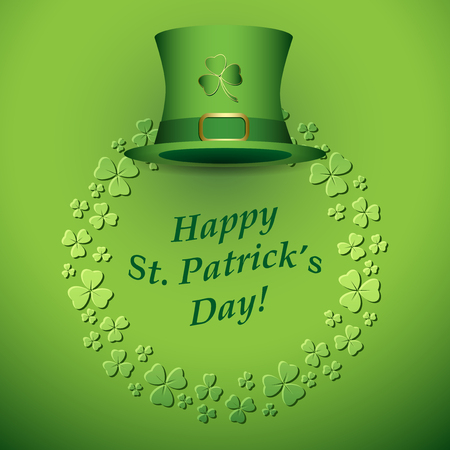Bright green vector background with clovers and hat for Saint Patricks Day. Illustration