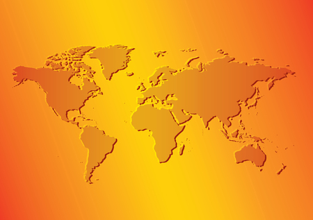 Bright orange background with map of the world.