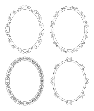 Floral ornament on decorative oval frames set.