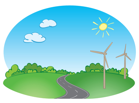 Green landscape with road and blue sky and wind turbines. Vector illustration Stock Illustratie