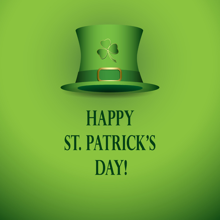 Happy st patricks day - bright green vector background with green hat. Stock Vector - 95915063