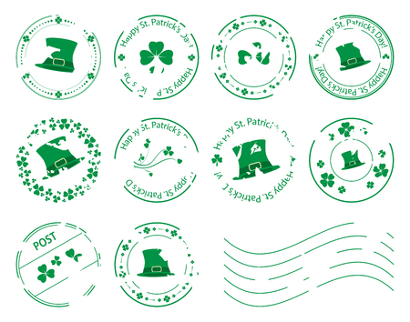 Green postage stamps with clovers and hat for saint Patrick day - grungy vector set. Stock Vector - 95915062