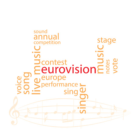 Vector word collage in orange color - eurovision song contest.