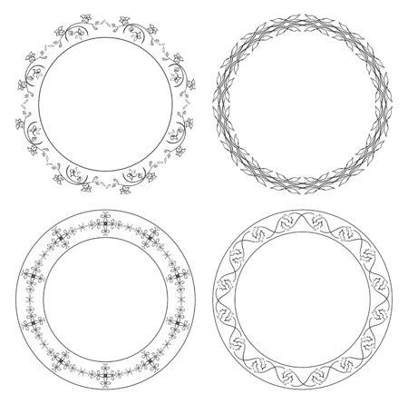 Floral ornamental borders - vector decorations. Stock Vector - 95915988