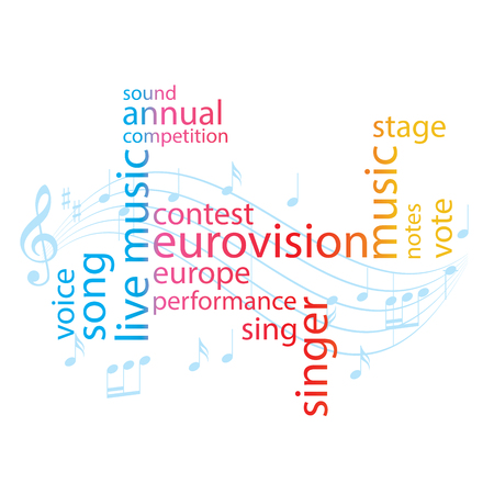 color word collage  euro-vision song contest  vector