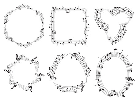 Set of musical vector frames with music notes Stock Vector - 96465791