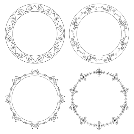 Floral ornament on decorative round frames