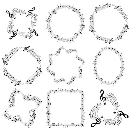 A vector decorative music frames with notes  on oval, square  and round.