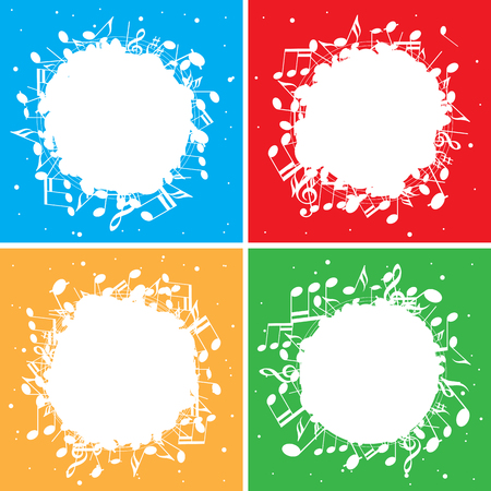 Set of color vector backgrounds with white music notes in center.