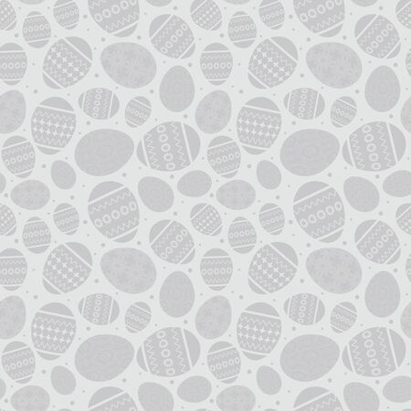 gray easter seamless pattern with decorated easter eggs - vector Illustration