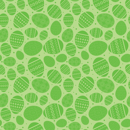 Green easter seamless pattern with decorated easter eggs - vector