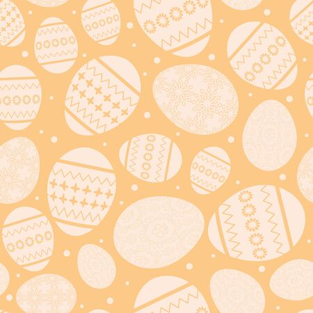Beige Easter seamless pattern with decorated Easter eggs vector.