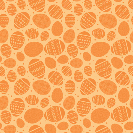 Orange Easter seamless pattern with decorated Easter eggs vector illustration.