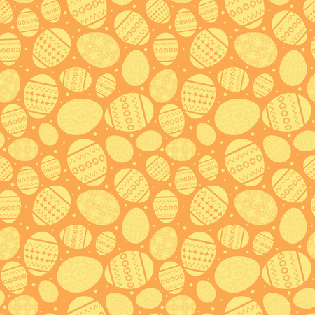 orange easter seamless pattern with yellow decorated easter eggs - vector